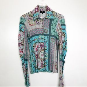 ETRO Button Down Shirt Floral Patchwork Print Sz44
